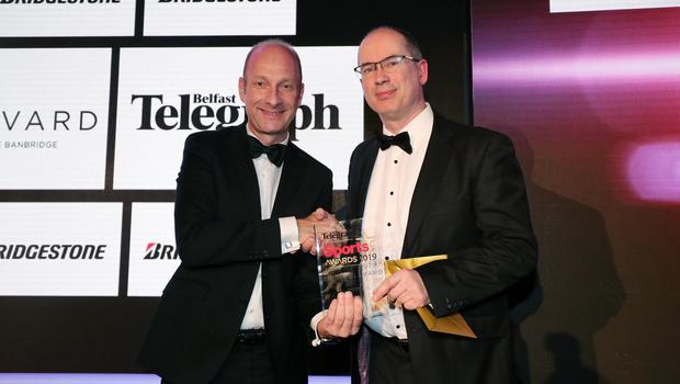 Press Eye - Belfast - Northern Ireland - 20th January  2020  Photo by Kelvin Boyes / Press Eye.  2019 Belfast Telegraph Sport Awards at the Crowne Plaza Hotel in Belfast.  AWARD 8  RISING STAR AWARD sponsored by Bridgestone Tyres Colm Conyngham, Marketing & Public Relations Manager, Bridgestone Tyres makes a presentation to Stephen Watson on behalf of Tom McKibbin.