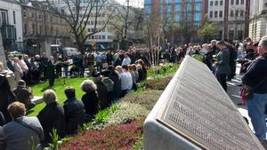 Relations of those who died gather in The Titanic Memorial Garden in the grounds of Belfast City Hall, to commemorate the anniversary of the sinking.