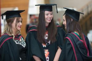 No Fee for Reproduction  Graduating from the Ulster University today with a degree in Law are Mairi Conlon, Natalie Bronkhorst and Stacey Owens. Picture Martin McKeown. Inpresspics.com. 20.06.15