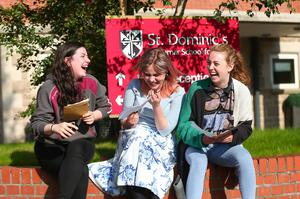 Picture - Kevin Scott / Belfast Telegraph  Belfast - Northern Ireland - Thursday 13th August 2015 - A Level Results Day   Pictured is Miriam Lanigan, Sam Dineen, Emma Monaghan during A level results day at St Dominics  Picture - Kevin Scott / Belfast Telegraph