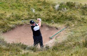 NEWCASTLE, NORTHERN IRELAND - MAY 28:  Ernie Els of South Africa hits his 2nd shot on the 13th hole during the First Round of the Dubai Duty Free Irish Open Hosted by the Rory Foundation at Royal County Down Golf Club on May 28, 2015 in Newcastle, Northern Ireland.  (Photo by Ross Kinnaird/Getty Images)