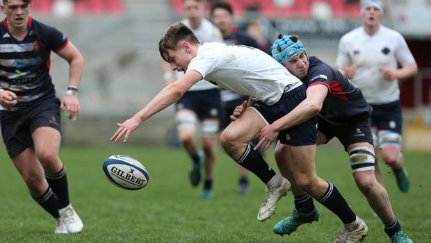 Wednesday 6th March 2019 | Ulster Schools Cup - Semi Final 2  Ethan McIlroy is tackled by Harry McMeekin during the Ulster Schools Cup semi-final between MCB and Wallace High School at Kingspan Stadium, Ravenhill Park, Belfast, Northern Ireland. Photo by John Dickson / DICKSONDIGITAL