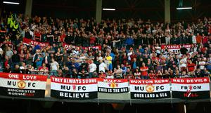 Manchester United fans in the stands during the UEFA Europa League Semi-Final, first leg match, at the Estadio Municipal de Balaidos, Vigo. PRESS ASSOCIATION Photo. Picture date: Thursday May 4, 2017. See PA story SOCCER Celta Vigo. Photo credit should read: Steven Paston/PA Wire