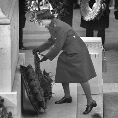 File photo dated 10/11/1946 of Princess Elizabeth (now Queen Elizabeth II) laying a wreath at the Cenotaph on Remembrance Sunday as she turns 90 on the April 21st. PRESS ASSOCIATION Photo. Issue date: Sunday April 3, 2016. See PA story ROYAL Birthday. Photo credit should read: PA Wire