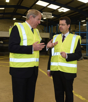 Sean Coyle speaks to Secretary of State James Brokenshire during his visit to Keystone in Cookstownwhich