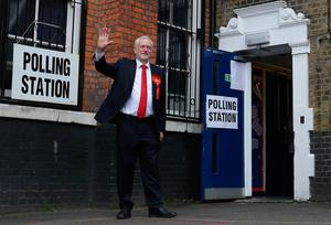 Britain's main opposition Labour Party leader Jeremy Corbyn leaves a polling station after casting his vote in north London on June 8, 2017, as Britain holds a general election.  / AFP PHOTO / Daniel Leal-OlivasDANIEL LEAL-OLIVAS/AFP/Getty Images