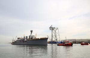 World War One Battle of Jutland veteran light cruiser, the 3,700-ton HMS Caroline being moved from its current location in Alexandra Dock to Harland and Wolff Belfast Dock for a scheduled hull inspection and repair. Picture by Darren Kidd / Press Eye.