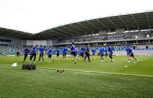 Press Eye - Belfast -  Northern Ireland - 06th September 2015  Photo by William Cherry  Northern Ireland players during Sundays training session at Windsor Park ahead of Monday nights Euro 2016 Qualifier against Hungary.