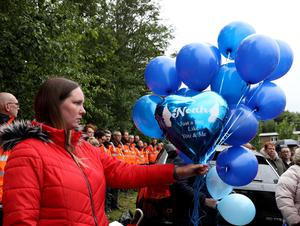 PACEMAKER PRESS BELFAST 28/6/2020 A vigil in Grove Park for Noah Donohue, who tragically lost his life after going missing last Sunday. At 6.11pm the family held a momentÕs silence and let of 14 balloons.  Photo Pacemaker Press