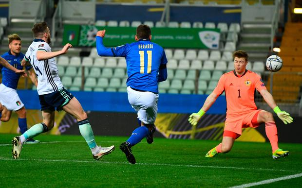 Both Domenico Berardi (above) and Ciro Immobile's goals were disappointing ones to concede for Northern Ireland's shaky defence.