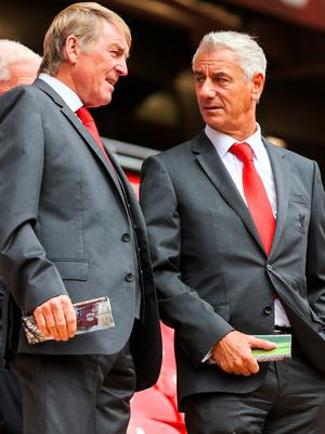 LIVERPOOL, ENGLAND - SEPTEMBER 09: Kenny Dalglish and Ian Rush during the opening of  the new stand and facilities  at Anfield on September 9, 2016 in Liverpool, England. (Photo by Barrington Coombs/Getty Images)