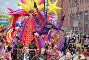 Northern Ireland- 17th March 2013 Mandatory Credit - Photo-Jonathan Porter/Presseye.  Belfast Annual St Patrick's Carnival Parade in the City Centre.  The carnival started with a parade from the CIty Hall and was  followed by a concert in Custom House Square with a number of acts including The Voice's David Julien and X Factor's Amelia Lily.  The parade makes its way through the City Centre.