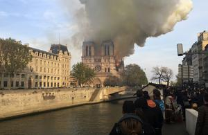 Smoke billows from Notre Dame Cathedral (Lori Hinnant/AP)