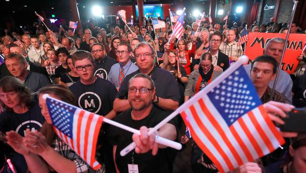 SALT LAKE CITY, UT - NOVEMBER 08: Supporters of U.S. Independent presidential candidate Evan McMullin cheer him on at an election night party  on November 8, 2016 in Salt Lake City, Utah. Republican candidate Donald Trump was declared the winner in Utah  late in the evening. (Photo by George Frey/Getty Images)
