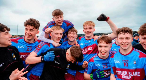 Winning feeling: the victorious St Michael's players celebrate