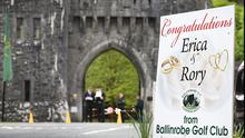A newly erected sign from Ballinrobe Golf Club at the gates of Ashford Castle in Cong, Co Mayo, ahead of the Rory and Erica's wedding today  STEVE HUMPHREYS