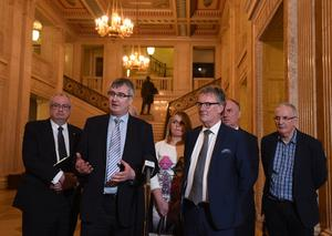Tom Elliott and Mike Nesbitt from the UUP speak to the media   at Stormont on Monday  , following the recent election results at the weekend. Photo Colm Lenaghan/Pacemaker Press  06/03/2017