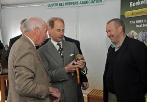 Earl of Wessex at Balmoral Show Day 1 at the new Balmoral Park site on the former Maze prison site. HRH Prince Edward is presented with a jar of honey by the Ulster Bee Keepers Association. Photo by Simon Graham/Harrison Photography.