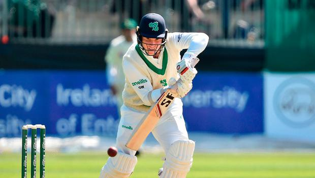 Battling: Gary Wilson in action against Pakistan yesterday