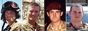 (left to right) Corporal Stephen Allbutt, Private Phillip Hewett, Private Lee Ellis and Lance Corporal Kirk Redpath - as the families of the British soldiers killed fighting in Iraq can bring damages claims against the Government, the Supreme Court ruled today