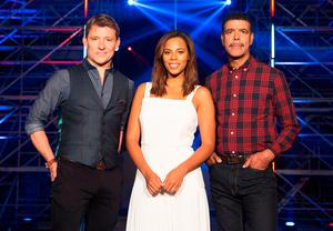 Chris Kamara with Ninja Warrior co-presenters Ben Shephard and Rochelle Humes
