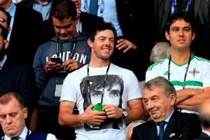 Northern Ireland golfer Rory McIlroy in the stands during the UEFA Euro 2016, Group C match at the Parc Des Princes, Paris. PRESS ASSOCIATION Photo. Jonathan Brady/PA Wire.