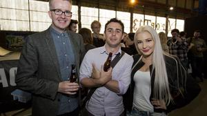 David Meade, Kieran Doherty and Laura Lacole at the Friday night Mash Up networking event for the Tech Community at T13 in Belfast Titanic Quarter,