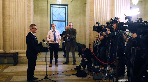 Jeffrey Donaldson speaks to the media in the Great Hall of Parliament Buildings Stormont (Brian Lawless/PA)