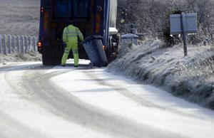Pacemaker Press 8/12/2014 Bin Men   as Snow Fall on the Divis Road on the Outskirts of Belfast , With Snow falling across parts of Northern Ireland  Pic Colm Lenaghan/Pacemaker