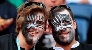 New Zealand fans in the stands during the Rugby World Cup match at Wembley Stadium, London. PRESS ASSOCIATION Photo. Picture date: Sunday September 20, 2015. See PA story RUGBYU New Zealand. Photo credit should read: Mike Egerton/PA Wire. RESTRICTIONS: Editorial use only. Strictly no commercial use or association without RWCL permission. Still image use only. Use implies acceptance of Section 6 of RWC 2015 T&Cs at: http://bit.ly/1MPElTL Call +44 (0)1158 447447 for further info.