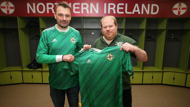 Colin Porter and Kris Allsop at the launch of the new Northern Ireland kit at Windsor Park (Jonathan Porter/PressEye)