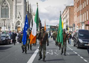 Members of Republican Sinn Fein parading from Dublin's Garden of Remembrance to the GPO (General Post Office)