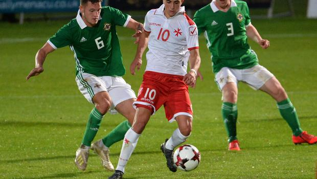 Pacemaker Press 6/09/19 Northern Ireland  v Malta U21 Euro Qualifier  N Ireland's Jake Dunwoody    and Malta's Jan Busuttil during this evening's game at the Ballymena Showgrounds.  Pic Colm Lenaghan/Pacemaker