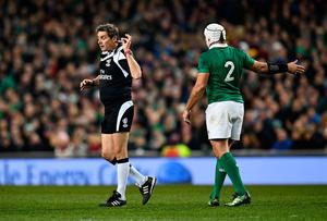DUBLIN, IRELAND - NOVEMBER 26:  Referee, Jerome Garces gestures to Rory Best of Ireland during the international match between Ireland and Australia at the Aviva Stadium on November 26, 2016 in Dublin, Ireland. (Photo by Dan Mullan/Getty Images)