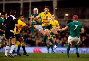 Ireland's Rory Best and Australia's Bernard Foley (right) compete for the ball during the Autumn International match at the Aviva Stadium, Dublin. PRESS ASSOCIATION Photo. Picture date: Saturday November 26, 2016. See PA story RUGBYU Ireland. Photo credit should read: Niall Carson/PA Wire. RESTRICTIONS: Editorial use only, No commercial use without prior permission