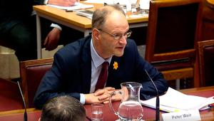 Education Minister Peter Weir speaking at the Stormont education committee where he said that he cannot give a date yet for when schools in Northern Ireland will close over coronavirus.