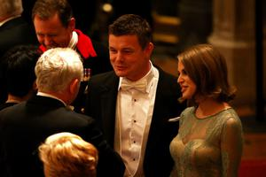Brian O'Driscoll and Amy Huberman attend a State Banquet in honour of the President of Ireland Michael D. Higgins on April 8, 2014 in Windsor, England. (Photo by Dan Kitwood/Getty Images)