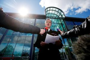 SHEFFIELD, ENGLAND - APRIL 26:  South Yorkshire Police Chief Constable David Crompton makes a statement to the media outside the Force's headquarters on April 26, 2016 in Sheffield, England. The fresh inquests into the 1989 Hillsborough disaster, in which 96 football supporters were crushed to death, concluded on April 26, 2016 with a verdict of unlawful killing, after the initial verdicts were quashed. Relatives of Liverpool supporters who died in Britain's worst sporting disaster gathered in the purpose-built court to hear the jury's verdict in Warrington after a 25 year fight to overturn the accidental death verdicts handed down at the initial 1991 inquiry.  (Photo by Matthew Lloyd/Getty Images)