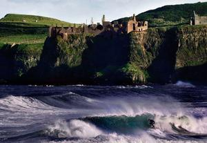 A view of the sea and cliffs below Dunluce Castle