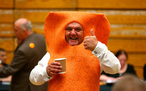 Local candidate Mr Fishfinger waits as ballot papers are counted at the Westmoorland and Lonsdale constituency count at Kendal Leisure Centre on June 8, 2017 in Kendal, United Kingdom. (Photo by Dave Thompson/Getty Images)