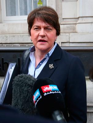 DUP leader Arlene Foster leaves the Cabinet Office in Whitehall, London. Jonathan Brady/PA Wire