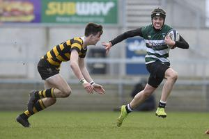 10/3/20: Jay Davis of Campbell College in action against Rory Ellerby of RBAI during the Medallion Shield Final at the Kingspan. Picture: Robbie Cooper