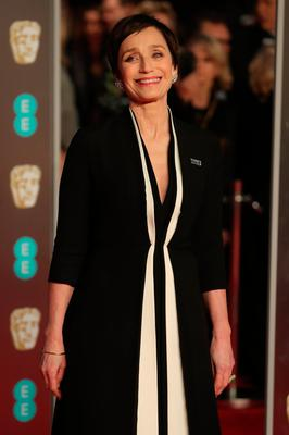 British actress Kristin Scott Thomas poses on the red carpet upon arrival at the BAFTA British Academy Film Awards at the Royal Albert Hall in London on February 18, 2018. / AFP PHOTO / Daniel LEAL-OLIVASDANIEL LEAL-OLIVAS/AFP/Getty Images