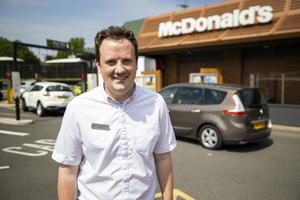 Paris McDonagh Business Manger at the McDonald's Bloomfield Shopping Mall outlet in Bangor, Northern Ireland as the fast food restaurant reopened its drive-thru service at 11am with queues of cars of hungry people wishing to have their first MdDonald's since the lockdown.. PA Photo. Picture date: Tuesday June 02, 2020. See PA story HEALTH Coronavirus Ulster. Photo credit should read: Liam McBurney/PA Wire