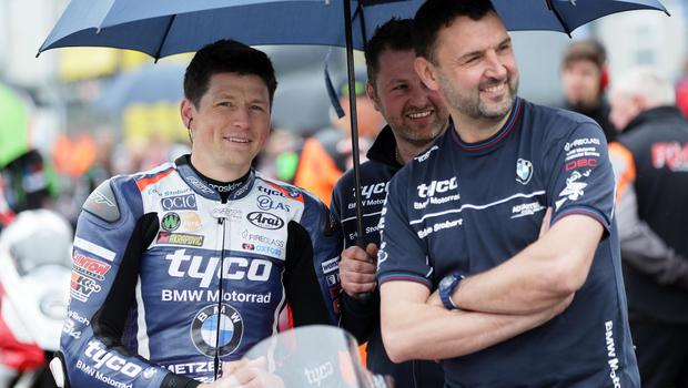 Dan Kneen (Tyco BMW) on the grid during the first practice session of the 2018 Vauxhall International North West 200.