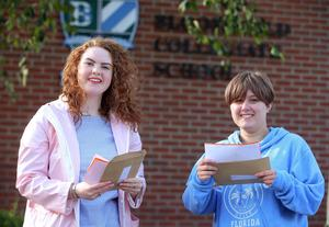 Press Eye - Belfast - Northern Ireland - 20th August 2020  Pupils across Northern Ireland receive the GCSE results.    Bloomfield Collegiate pupils pictured at the school after receive their results.   Left two right.  Felicity Woolerton -  four x A, 2 x A Star and three x B - and Sydnie Spurling - four x A,  four x B and 1 x C Star.  Picture by Jonathan Porter/PressEye