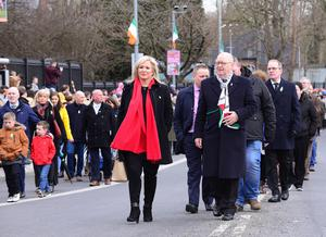 Pacemaker Press Belfast 01-04-2018: Republican marchers takes part in a parade in west Belfast on Sunday, organised by National Graves Association Belfast. The parade made its way along the Falls Road to the Milltown Cemetery where the Northern leader Michelle O' Neill addressed the crowd. Thousands of republicans attend Easter parades across the north this weekend to mark the 102nd anniversary of the 1916 Easter Rising. Picture By: Arthur Allison: Pacemaker.
