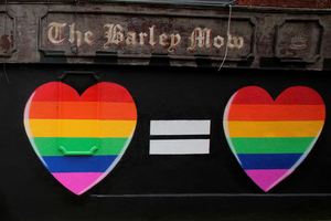 A Mural in favour of same-sex marriages in Dublin on May 21, 2015. Ireland goes to the polls tomorrow to vote on whether same-sex marriage should be legal, in a referendum that has exposed sharp divisions between communities in this traditionally Catholic nation.