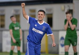 30th July 2020 -  Dollingstown v Newington - Intermediate Cup Final Tandragee Road, Portadown Dollingstowns Johnny Kernaghan celebrates after scoring his sides second goal. Photo by Stephen Hamilton/Presseye