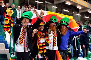 Northern Ireland and Germany fans during the 2018 FIFA World Cup Qualifying, Group C match at Windsor Park, Belfast. PRESS ASSOCIATION Photo. Picture date: Thursday October 5, 2017.  Niall Carson/PA Wire.